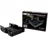 ICY DOCK EZ-FIT MB990SP-B Tool-less Dual 2.5 inch to 3.5 inch SATA & IDE SSD/Hard Drive Mounting Kit w/ 3.5 inch Bracket (Black) MB990SP-B